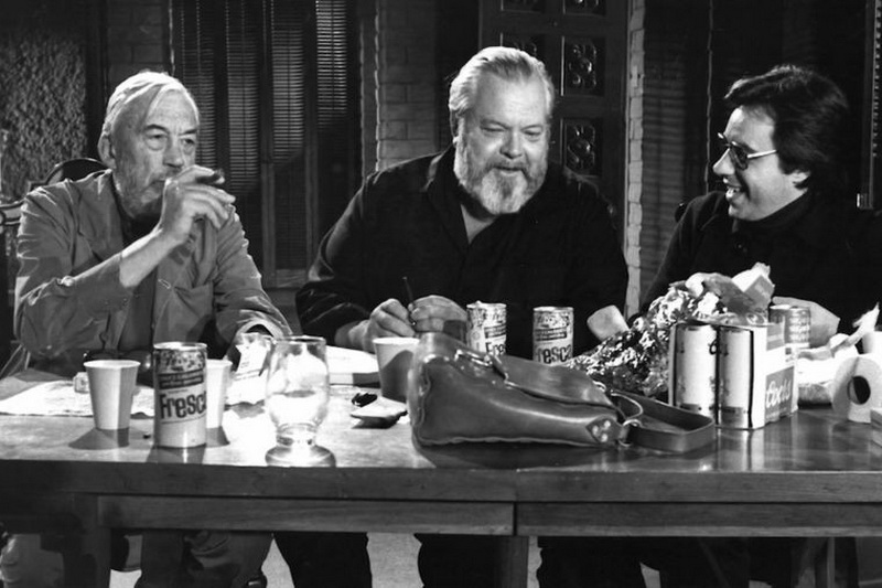 Orson Welles_ Peter Bogdanovich_ and John Huston in The Other Side of the Wind