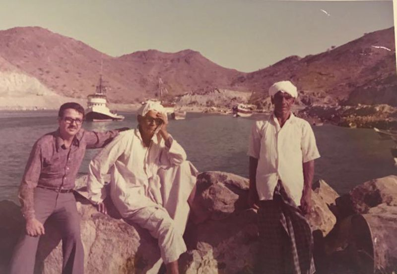 Ahmad Golchin (far left) in the UAE from early 1970s