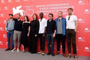 091 (L-R) Michael Sheasby_ Sam Claflin_ Aisling Franciosi_ Jennifer Kent_ Baykali Ganambarr_ Damon Herriman_ Luke Carroll and Harry Weaving attends _The Nightingale_ photocall during the 75th Venice Film Festival