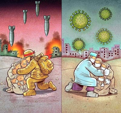 Cartoonist Alireza Pakdel's New Collection Healing Harms from Coronavirus