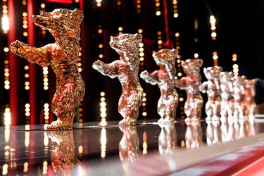 The Golden Bear and Silver Bears are seen on stage at the closing ceremony during the 68th Berlinale International Film Festival