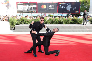 0999991 Gonzalo Tobal and Leonardo Sbaraglia walk the red carpet ahead of the _Acusada (The Accused)_ screening during the 75th Venice Film Festival