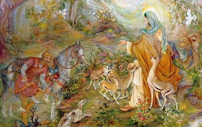 """Farshchian painting """"Guarantor of Gazelle"""" depicts kindness to animals in Islam"""