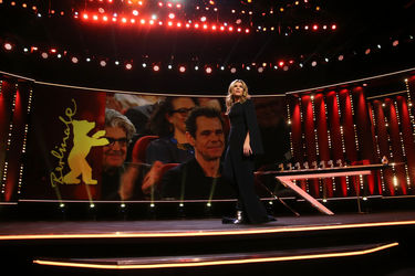Host Anke Engelke is seen on stage at the closing ceremony during the 68th Berlinale International Film Festival
