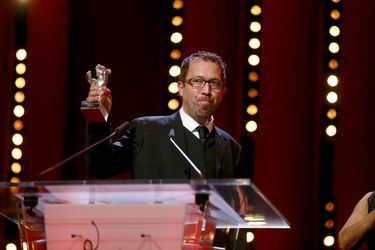 Marcelo Martinessi receives the Silver Bear Alfred Bauer Prize for a feature film that opens new perspectives for _The Heiresses_ on stage at the closing ceremony during the 68th Berlinale International Film Festival